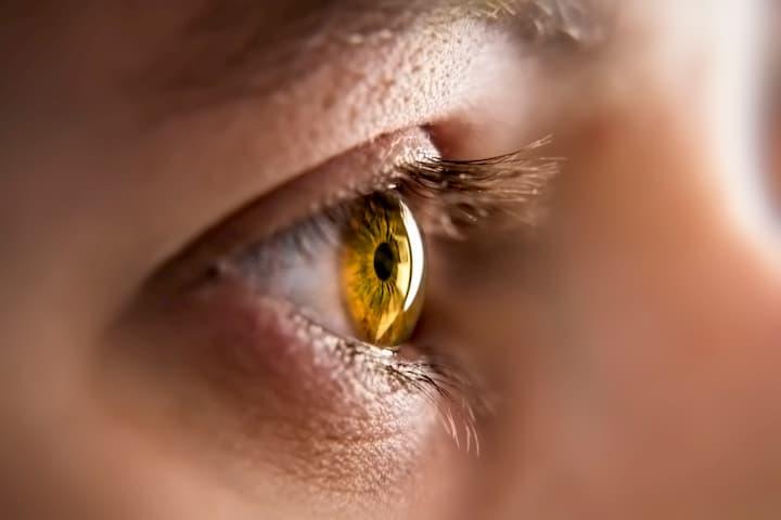 detalhe da íris do olho humano.